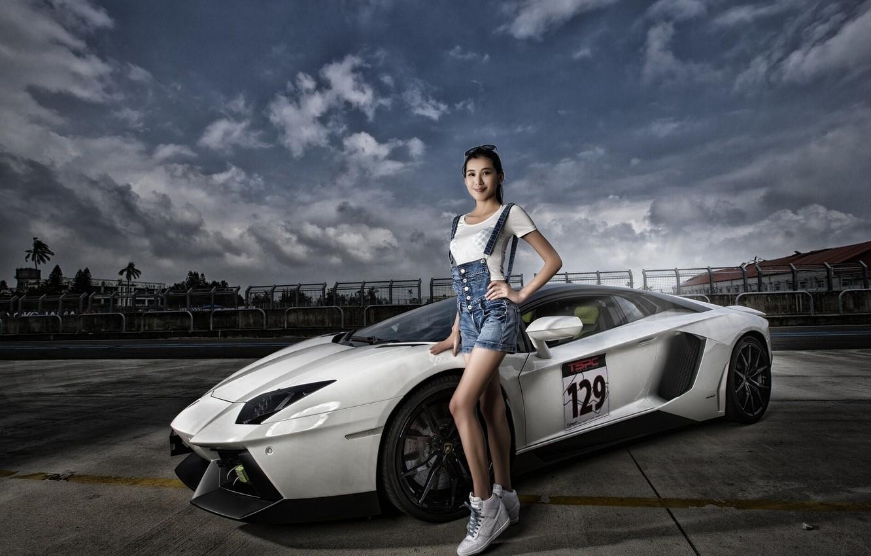 Photo wallpaper pose, model, Lamborghini, supercar, Asian, Aventador, Lamborghini Aventador, Lamborghini Aventador LP 700-4, sports car