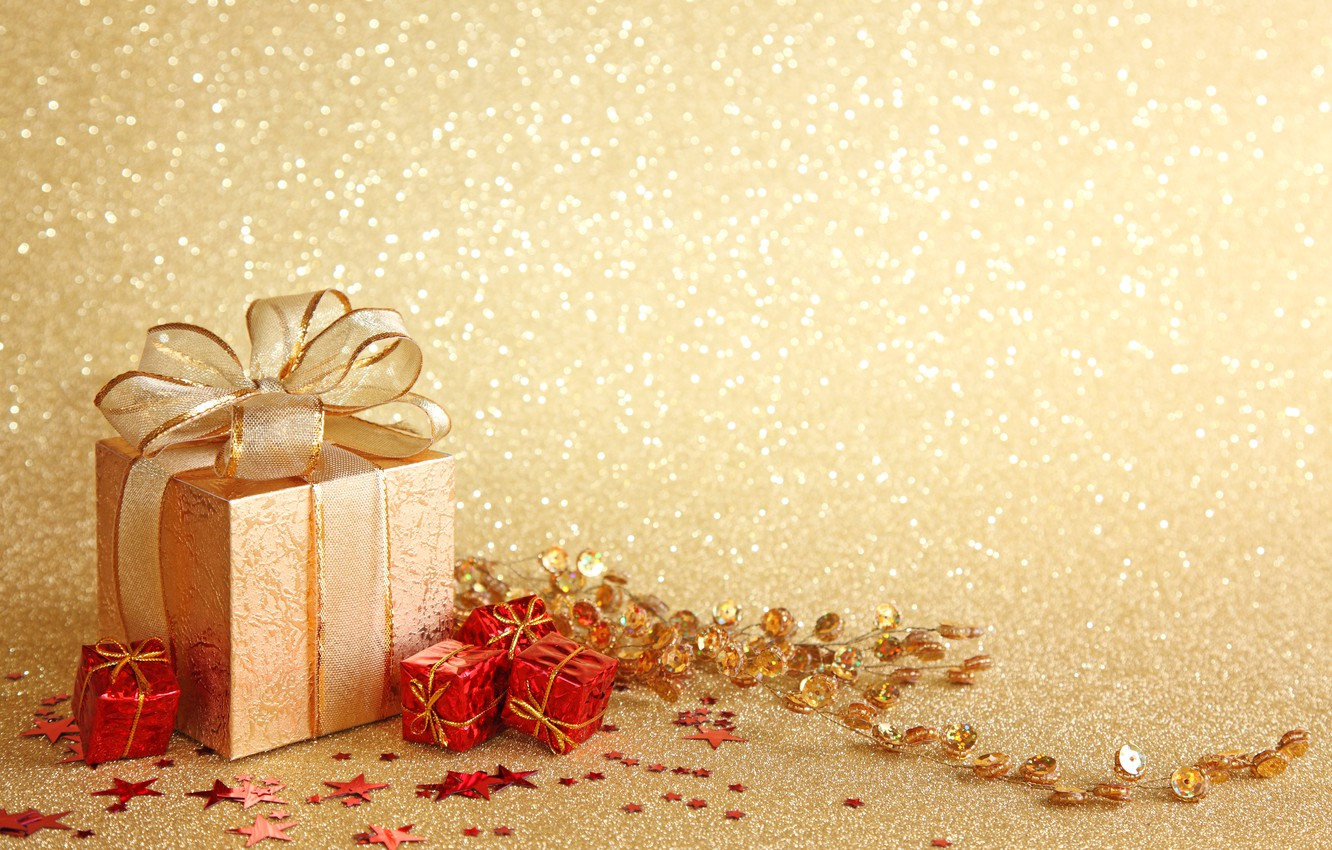 Photo wallpaper gift, New Year, Christmas, bow, Christmas, New Year, decoration