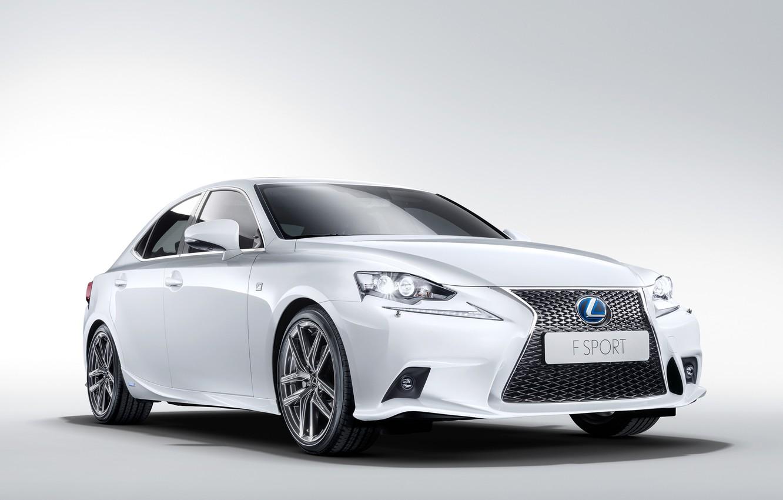 Photo wallpaper car, machine, Lexus, white, the front, F-Sport, IS 300h