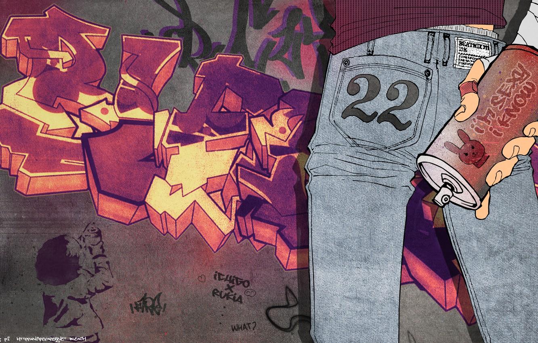 Photo wallpaper wall, graffiti, jeans, graffiti, bleach, spray, cube tite, Kurosaki Ichigo