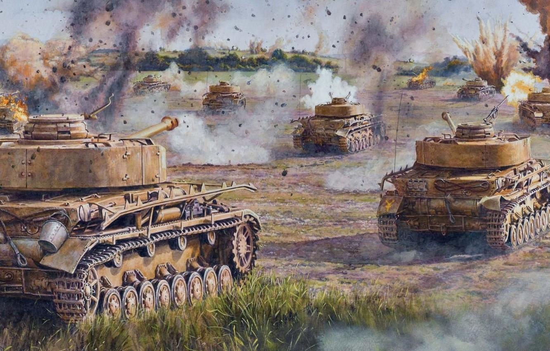 Photo wallpaper field, war, figure, art, A IV, offensive, Panzerkampfwagen IV, T‑IV, Pz. IV, German medium tank …