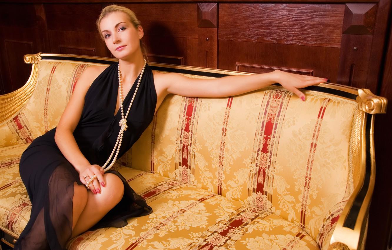 Photo wallpaper girl, style, sofa, mood, pearl, beautiful furniture
