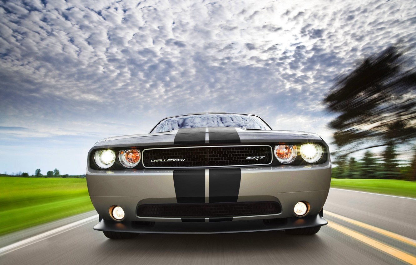 Photo wallpaper strip, The sky, Clouds, Auto, Machine, Dodge, Grille, Grey, Dodge, Challenger, Lights, The front