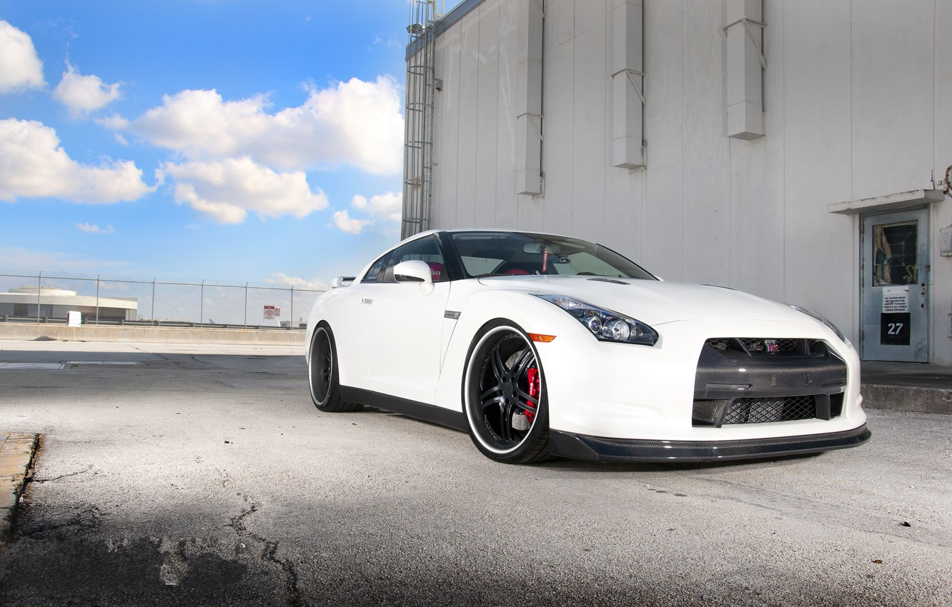 Photo wallpaper white, the sky, clouds, the building, the door, the fence, nissan, ladder, white, Nissan, gtr, …