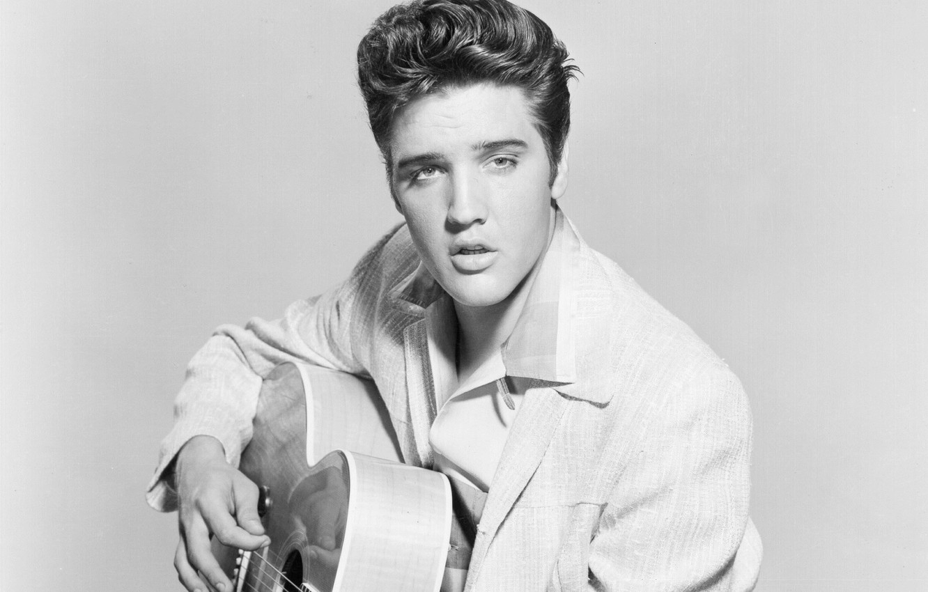 Photo wallpaper look, retro, music, guitar, black and white, actor, musician, beautiful, singer, Rock-n-roll, Elvis Presley, Elvis …