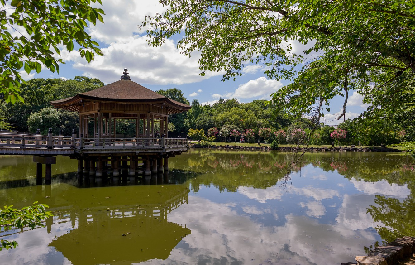 Photo wallpaper trees, pond, reflection, Japan, gazebo, pavilion, Ukimido Pavilion, Nara Park, Nara, Nara, Nara Park