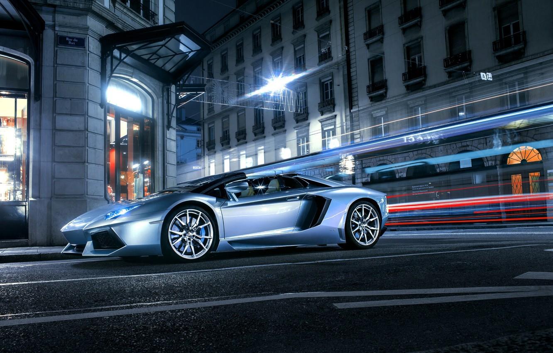 Photo wallpaper Roadster, Lamborghini, City, Front, LP700-4, Aventador, Supercars, Road, Silver, Door, Ligth