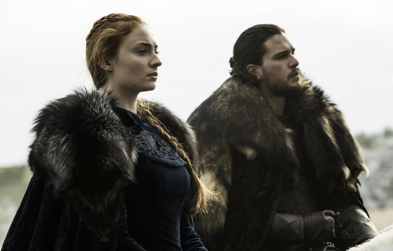 Photo wallpaper Game of Thrones, game of thrones, Jon Snow, Jon Snow, Sophie Turner, Kit Harington, Kit …