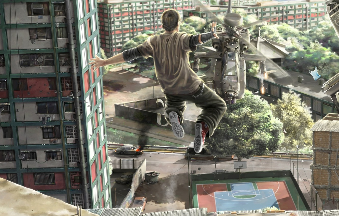 Photo wallpaper freedom, the city, jump, helicopter, guy, Man vs Helicopter