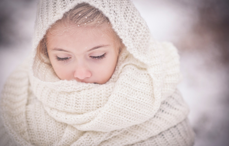 Photo wallpaper mood, scarf, girl