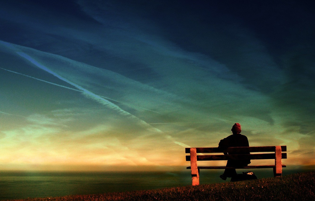 Photo wallpaper reverie, memories, bench, old age