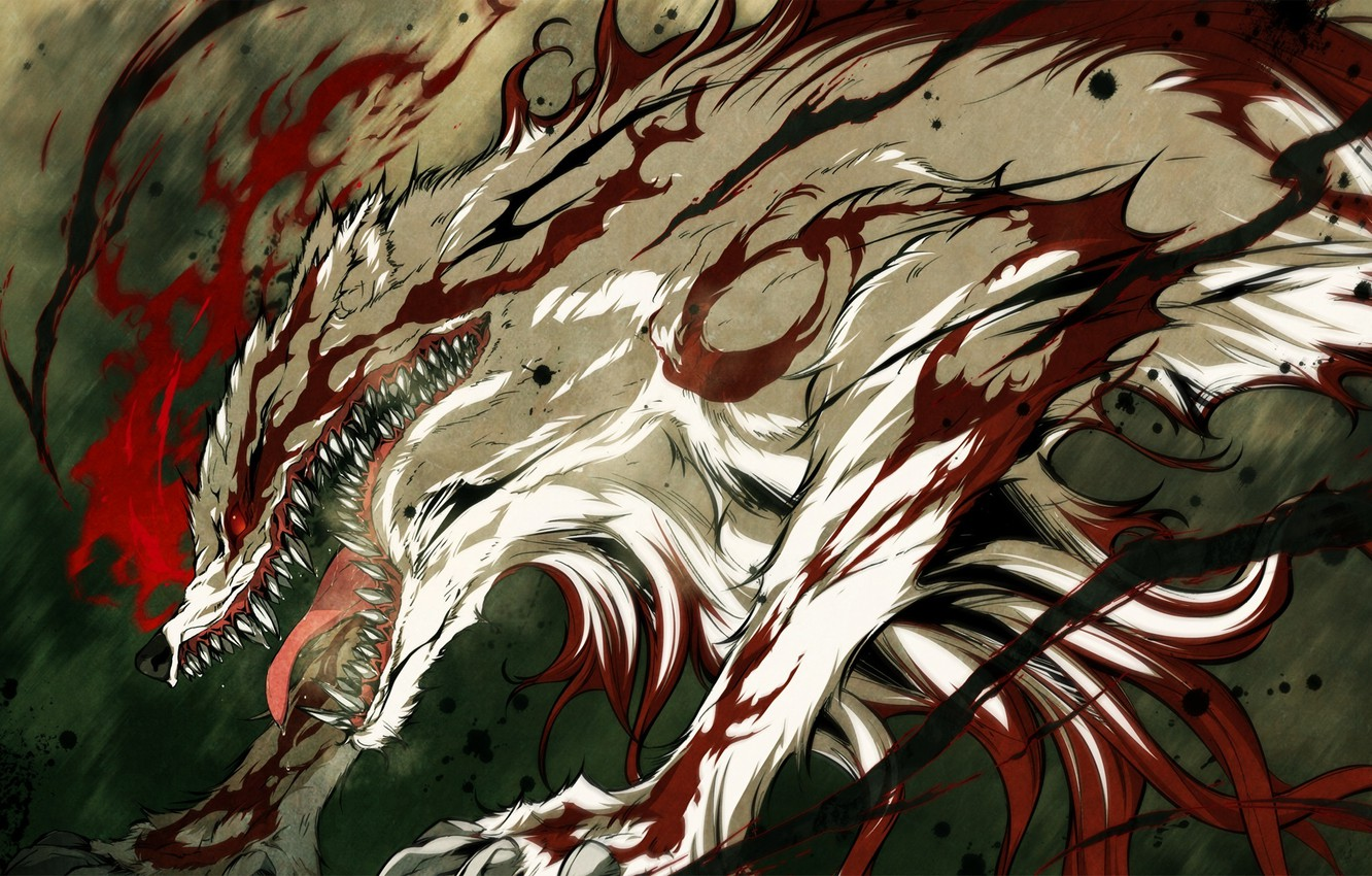 Photo wallpaper blood, monster, anime, mouth, fangs