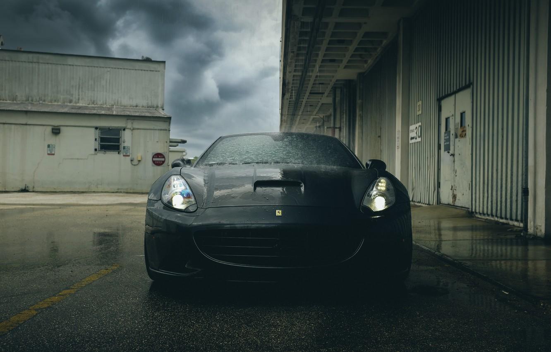 Photo wallpaper Ferrari, supercar, black, California