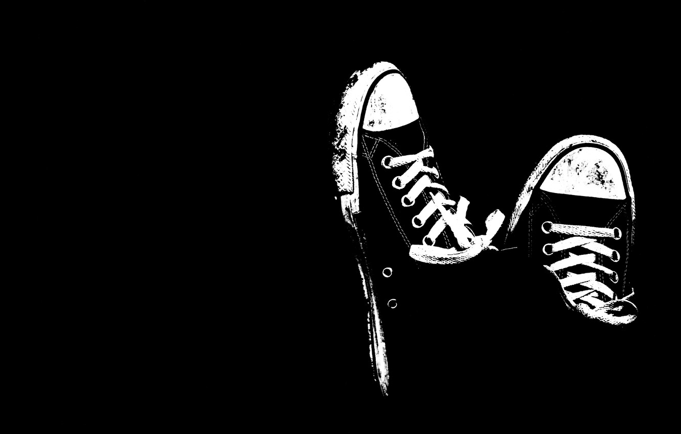 Photo wallpaper black and white, shoes, sneakers, minimalism, black background, laces