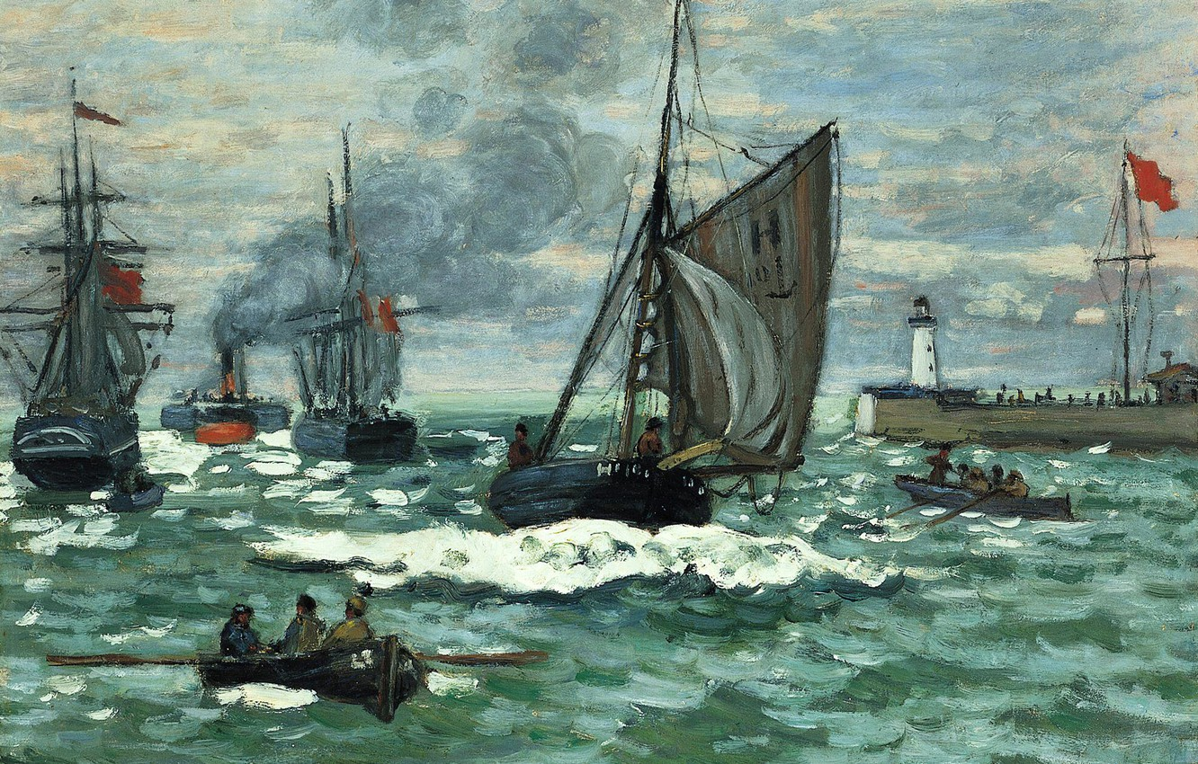 Photo wallpaper sea, boat, lighthouse, ship, picture, sail, seascape, Claude Monet, The entrance to the Port of ...