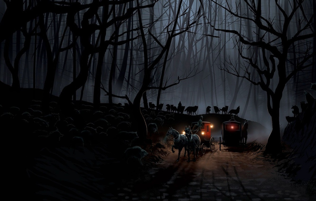 Photo wallpaper road, forest, night, wolves, the crew, coach