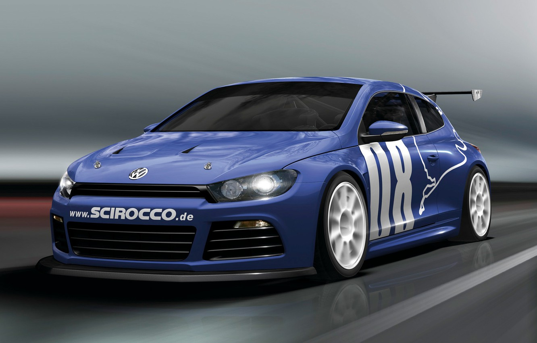 Photo wallpaper Road, Blue, Volkswagen, Machine, Movement, Car, Car, Cars, Blue, Volkswagen, GT24, Sirocco, Scirocco