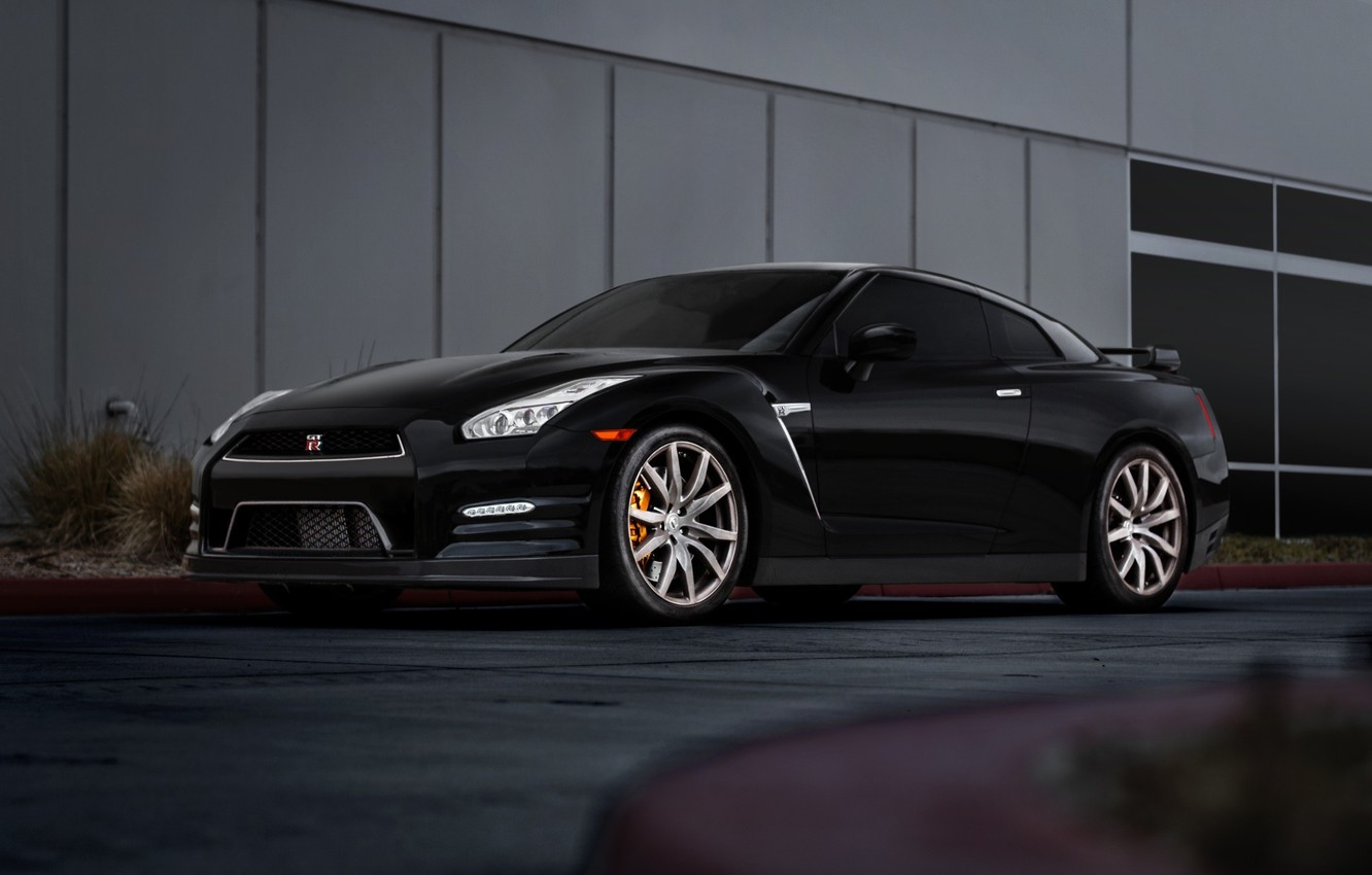Photo wallpaper GTR, Nissan, Car, Front, Black, R35, Road, Wheels, Ligth