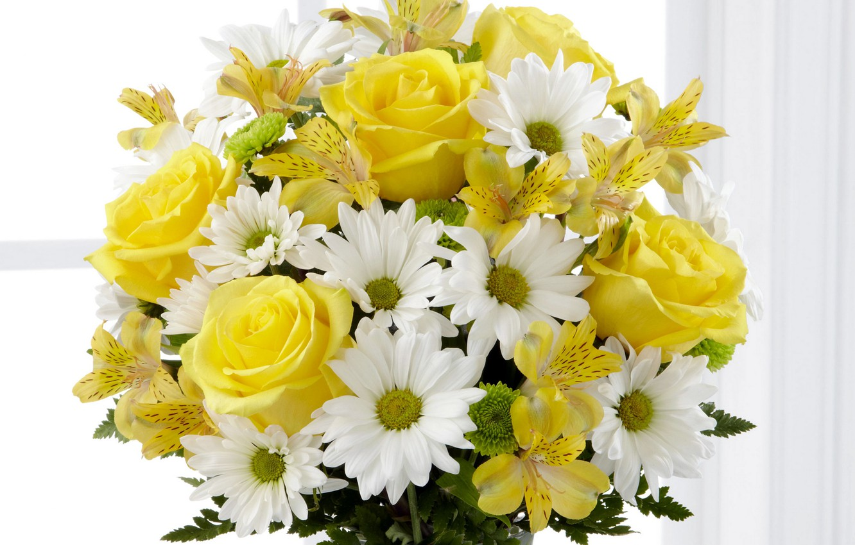 Photo wallpaper flowers, bouquet, yellow, Roses, chrysanthemum, alstremeria