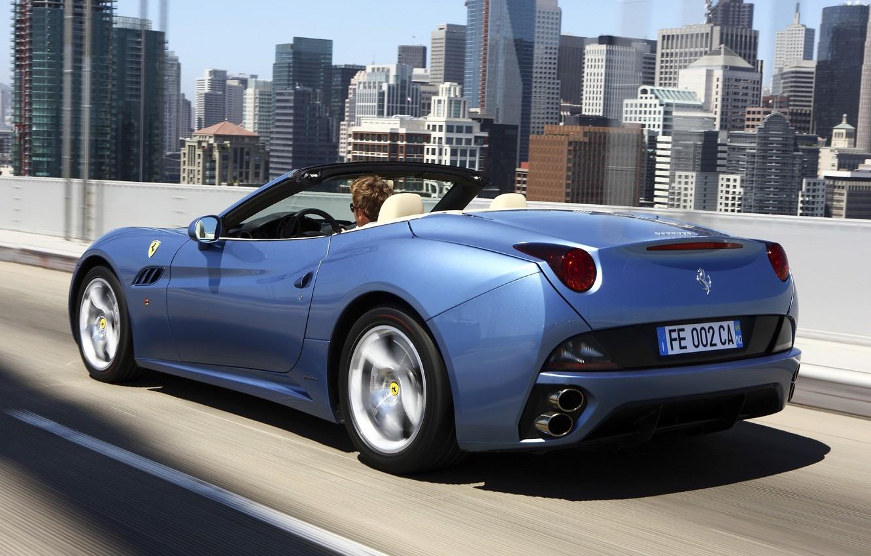 Photo wallpaper machine, speed, Ferrari, California, back, exhausts