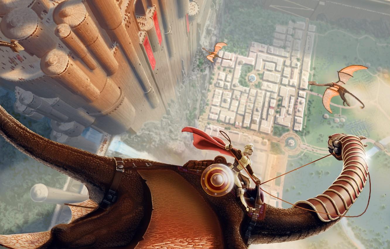 Photo wallpaper flight, castle, height, dragons, fantasy, art, rider, fortress, shield, cloak, armor