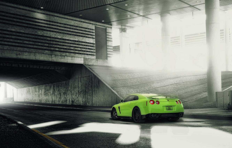 Photo wallpaper tuning, green, Nissan, nissan gt-r