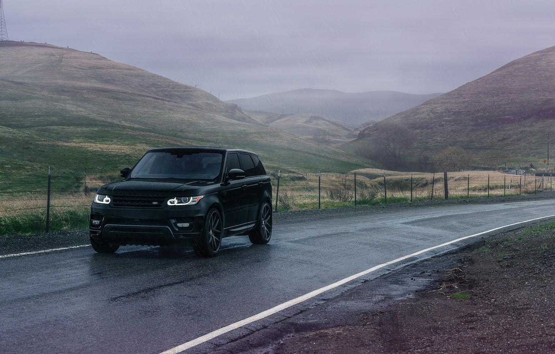 Photo wallpaper Land Rover, Range Rover, Front, Black, Sport, Road, Wheels, Before, Garde