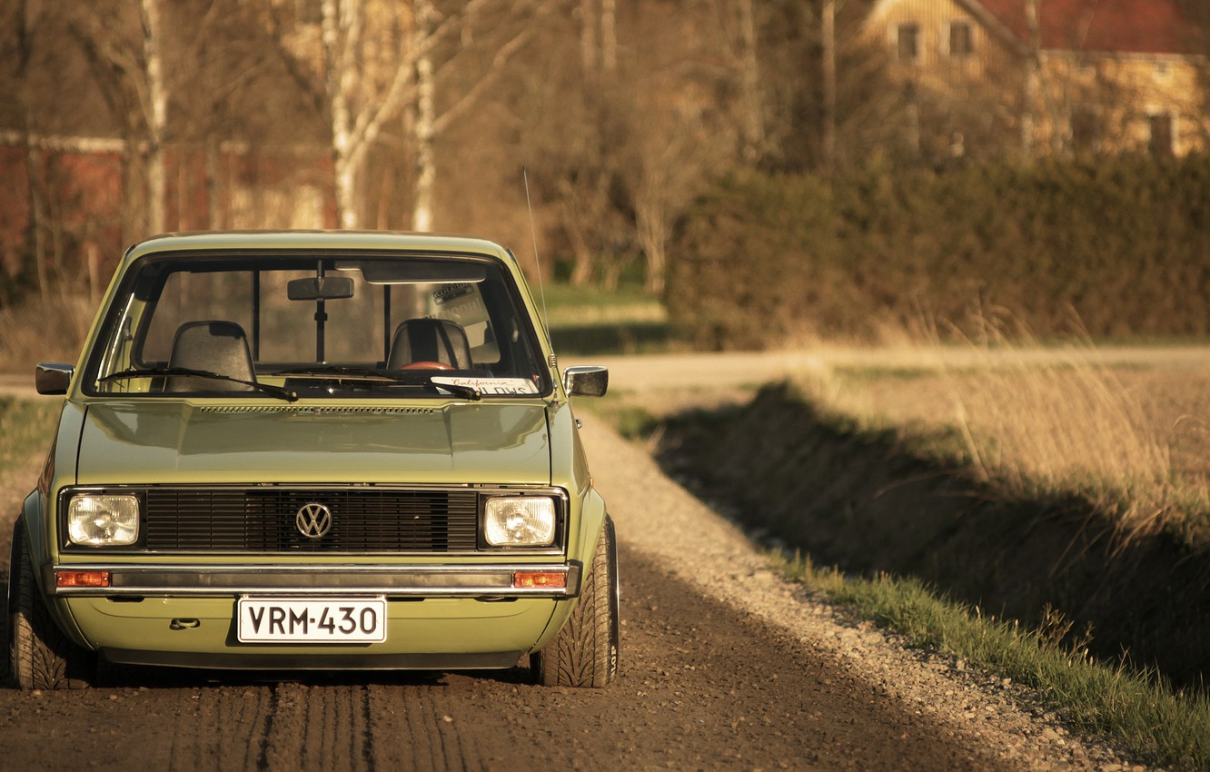 Photo wallpaper road, field, house, lights, shadow, Volkswagen, front, the countryside, Caddy