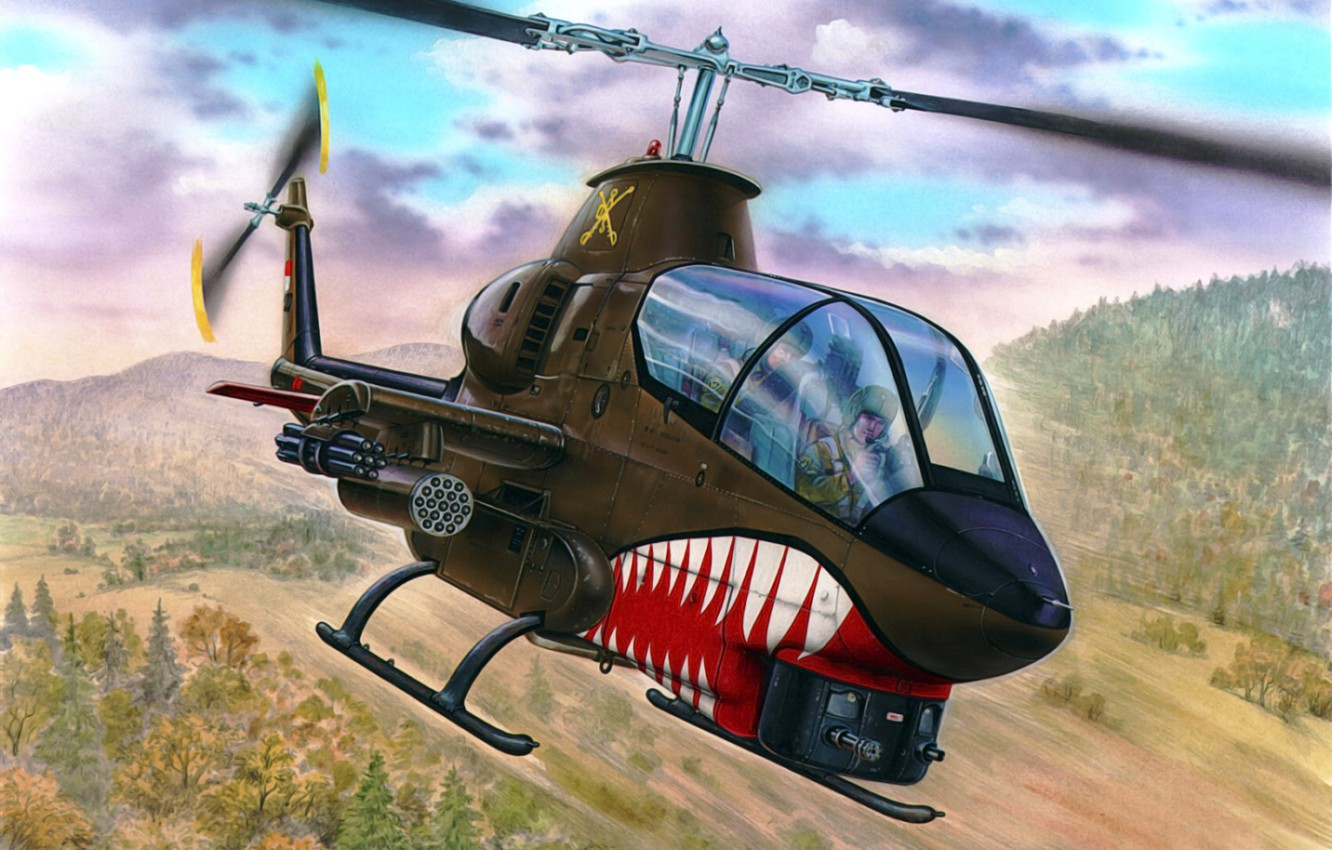 Photo wallpaper art, helicopter, painting, aviation, AH-1G Cobra