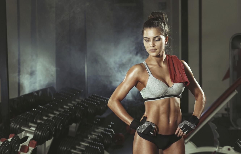 Photo wallpaper pose, workout, rest, fitness girl, sportswear, transpiration