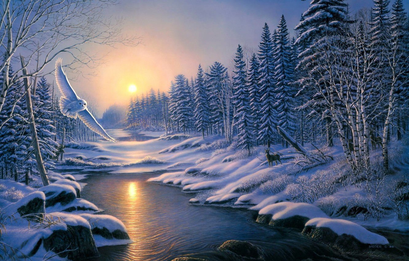 Photo wallpaper winter, forest, animals, snow, sunset, nature, river, owl, ate, ice, painting, deer, birch, trees, nature, …