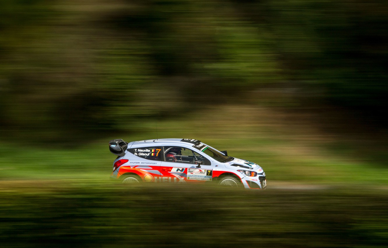 Photo wallpaper Grass, Forest, Profile, Hyundai, Rally, i20, Neuville