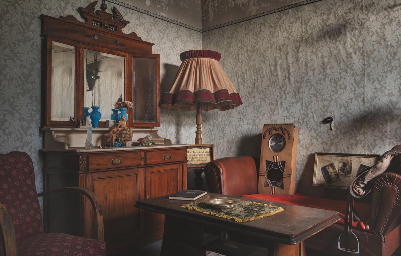 Photo wallpaper watch, chair, mirror, living room