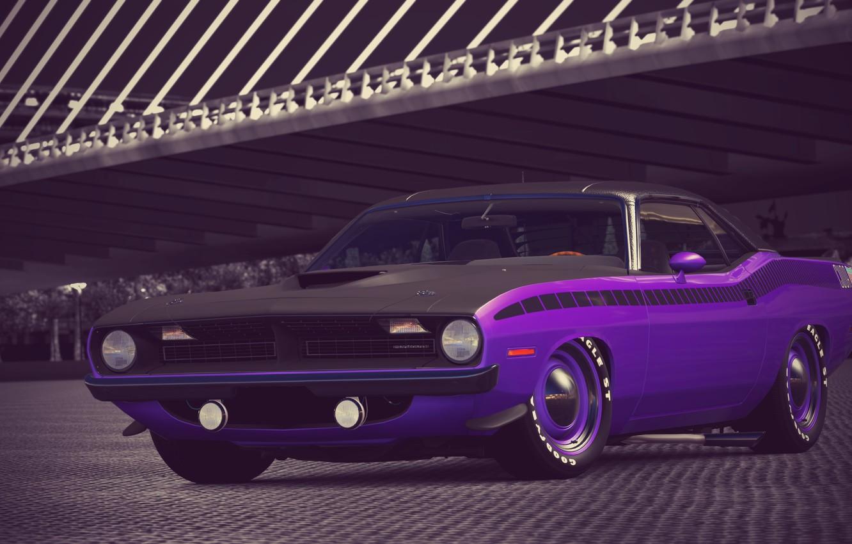 Photo wallpaper Purple, 1970, 340, Plymouth, Six, Cuda, AAR, Gran Turismo 6, Barrel