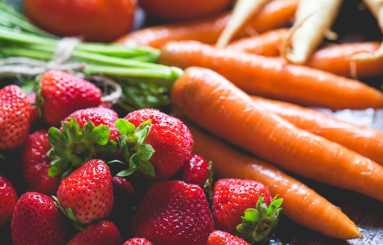 Photo wallpaper berries, strawberry, vegetables, carrots
