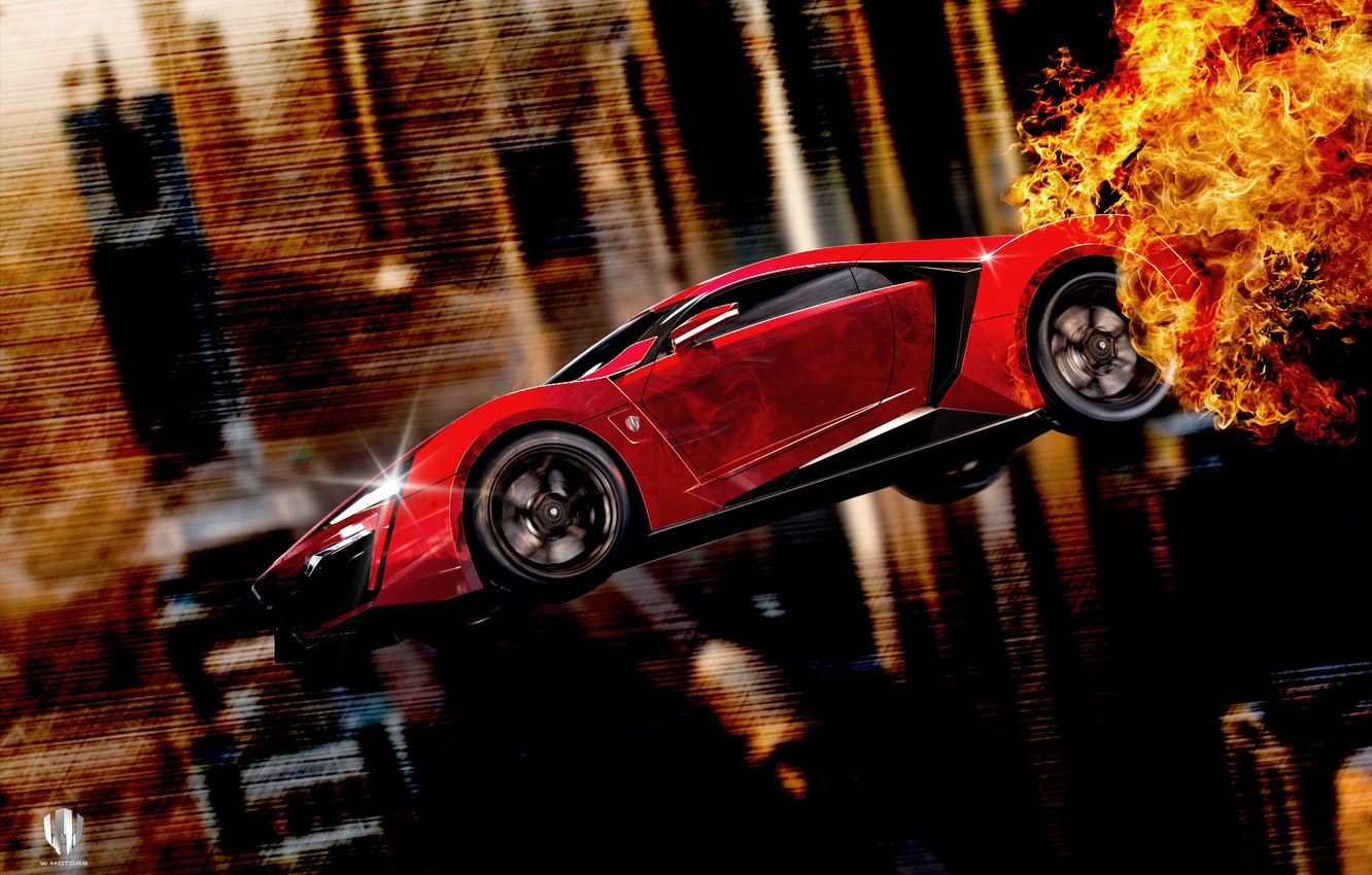 Photo wallpaper Red, Fire, Side, Fly, Lykan, W Motors, Furious 7, Hypersport
