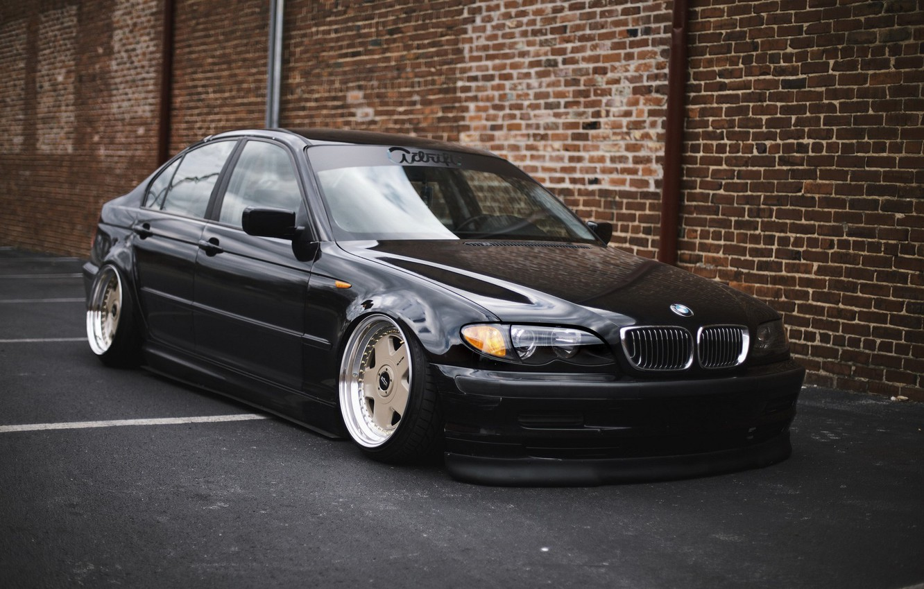 Photo wallpaper bmw, black, tuning, germany, low, stance, e46