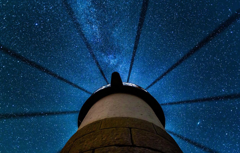 Photo wallpaper stars, night, lighthouse, USA, Clyde, Maine
