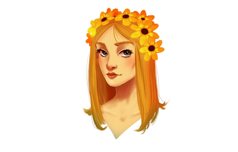 Photo wallpaper girl, flowers, orange, head