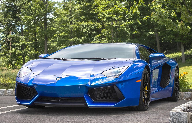 Photo wallpaper Lamborghini, blue, parking, aventador