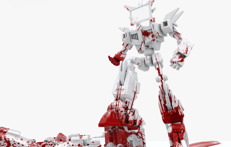 Photo wallpaper white, blood, robot