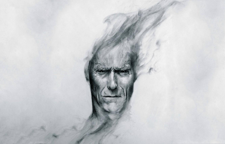 Photo wallpaper head, peer, art, Clint Eastwood, Clint Eastwood