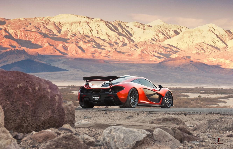 Photo wallpaper McLaren, Orange, Death, Sand, Supercar, Valley, Hypercar, Exotic, Rear, Volcano, Moutians