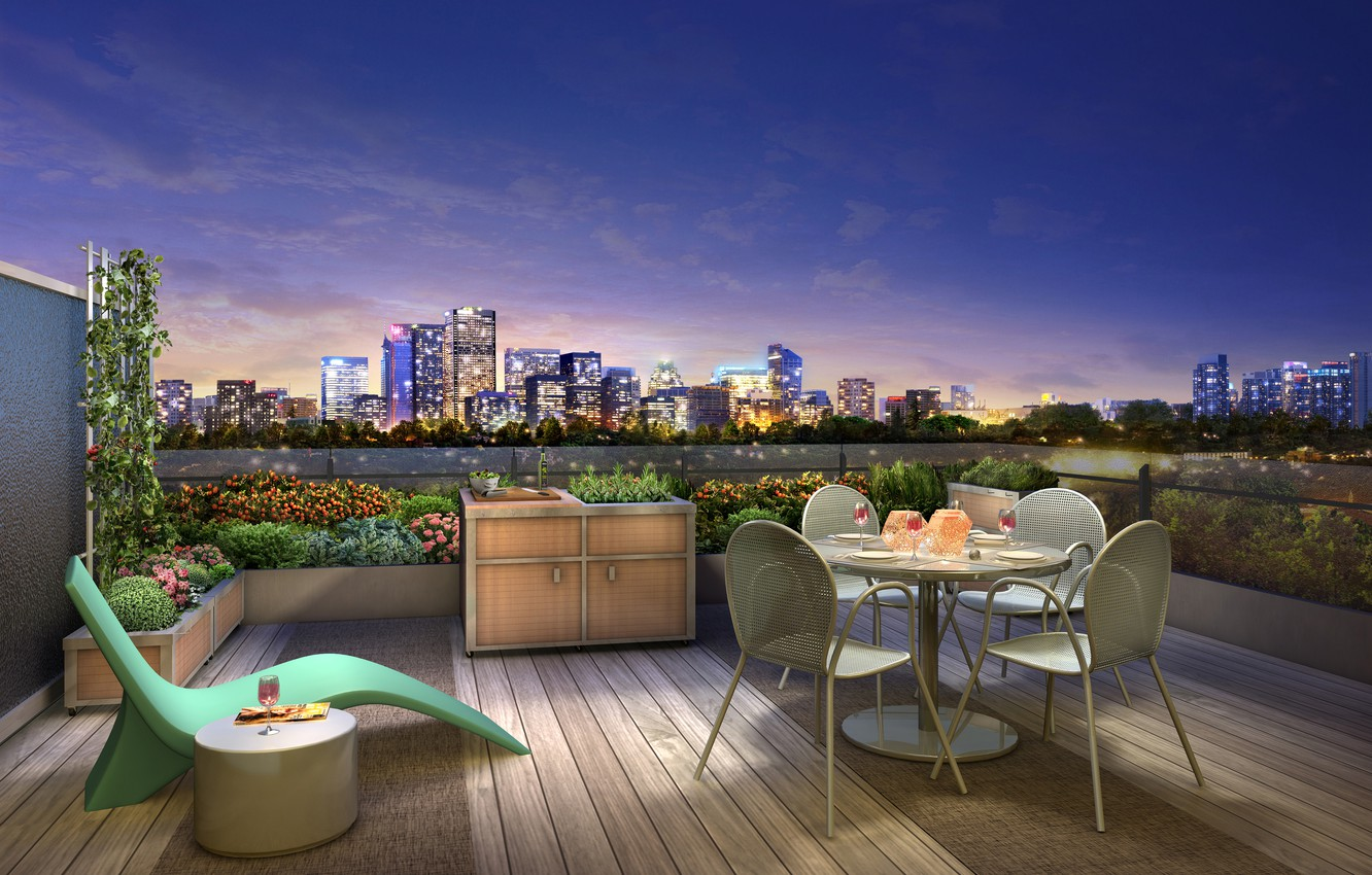Photo wallpaper the city, mood, wine, the evening, terrace, dinner