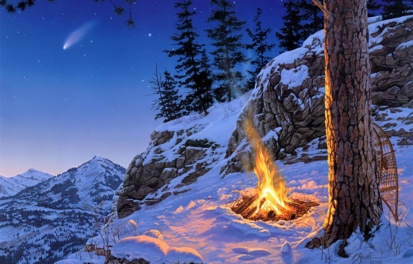 Photo wallpaper winter, stars, snow, landscape, mountains, night, spruce, the fire, pine, painting, Darrell Bush, Starfall, Once …