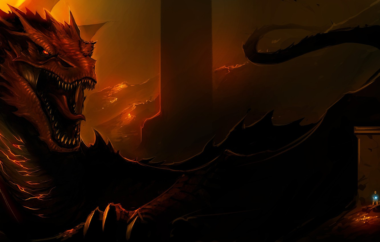 wallpaper fire dragon art lord of the rings the hobbit