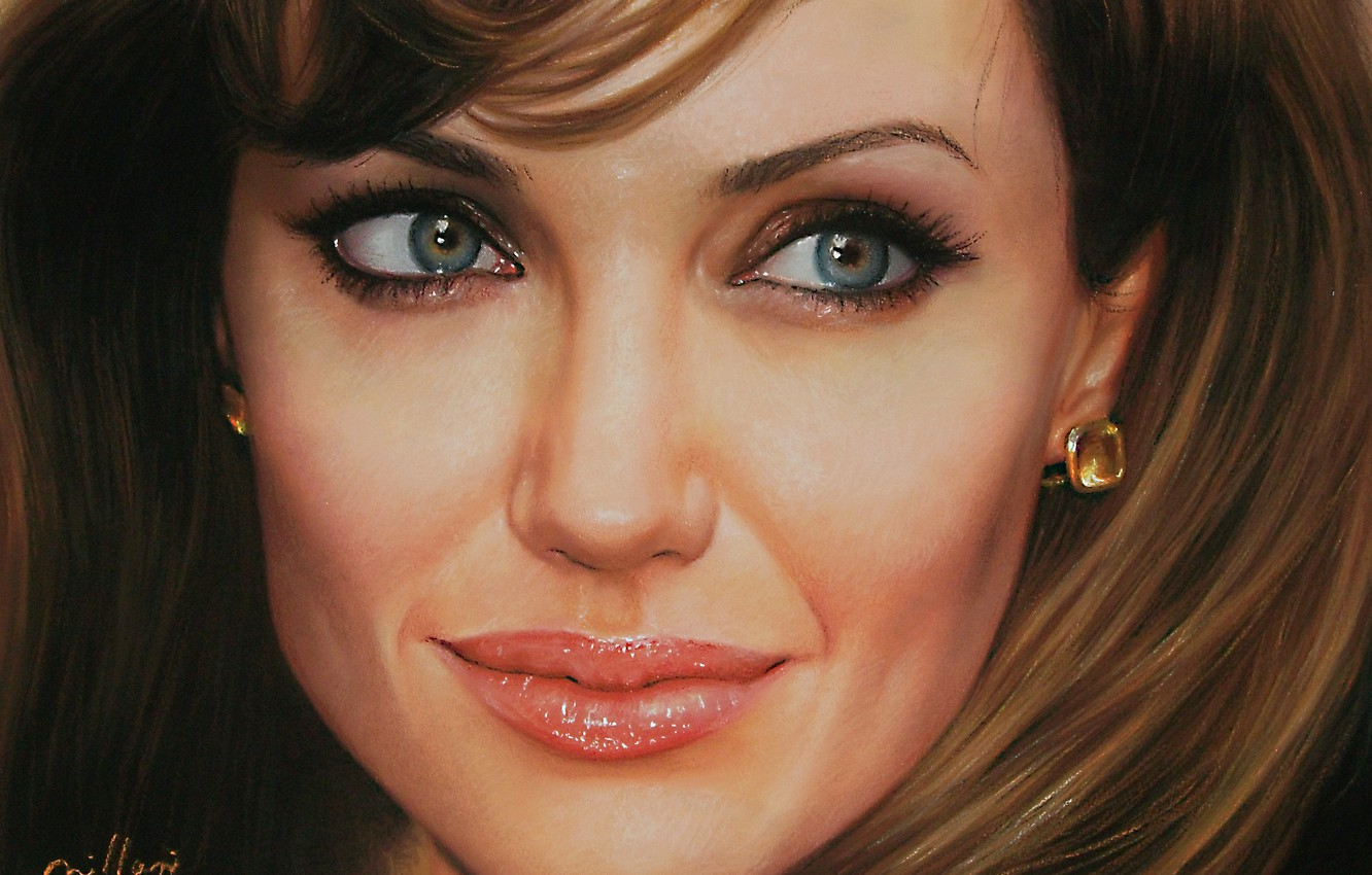 Photo wallpaper face, actress, Angelina Jolie, Angelina Jolie