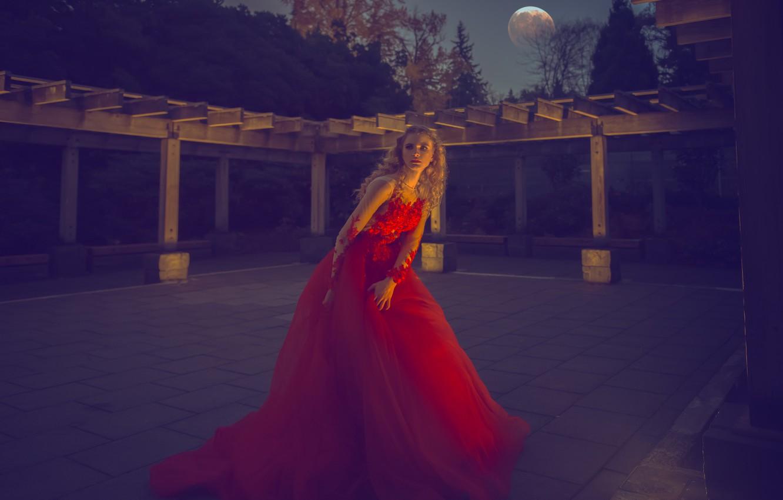 Photo wallpaper pose, blonde, red dress