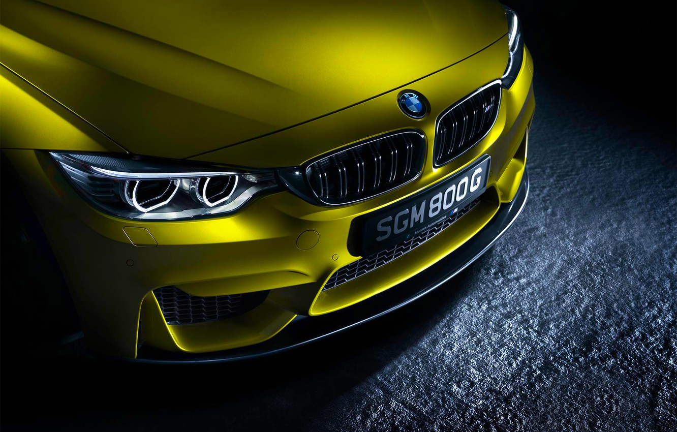 Photo wallpaper BMW, German, Car, Front, Yellow, Ligth, Bimper