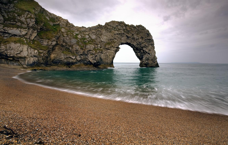 Photo wallpaper sea, pebbles, Strait, swim, rock